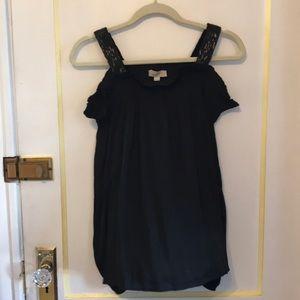 Loft Black Off the Shoulder Dressy Blouse/Top Med